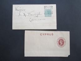 Zypern Um 1880 Streifband S1 Ungebraucht Und S3 Gestempelt Nikosia - Cartas