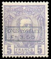 CP N°4 - 5Fr. Violet, Surcharge COLIS POSTAUX Fr.3.50 (type B), Dt.15..  Timbre Très Bien Centré Et Frais De Couleur, X. - 1884-1894 Vorläufer & Leopold II.