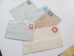 Brasilien Um 1880 Ganzsache 4x Carta Bilhete Und Einen Ganzsachen Umschlag. Ungebraucht / 1x Mit Text Innen! - Brazil