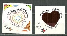FRANCE MNH ** Adhésif Autocollant 510-511 Saint Valentin Je T'aime Coeur Couurier Italien Maurizio Galante - Frankreich