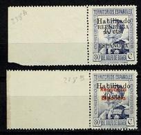 Guinea Esp. 1939 - Edifil 254/55**, Yv 288A/288B** MNH  Gele Gom / Gomme Jaune (zie/voir 2 Scans) - Spanish Guinea