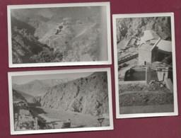 120520 - 3 PHOTOS - MAROC HAUT ATLAS AZEGOUR Mine Cuivre Tungstène Usine Wagon - Autres
