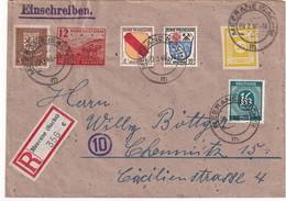 ALLEMAGNE 1946 ZONE FRANCAISE LETTRE RECOMMANDEE DE MEERANE AVEC CACHET ARRIVEE CHEMNITZ - French Zone