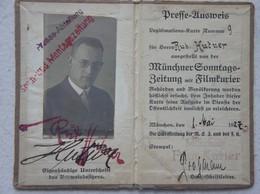 PRESSE AUSWEIS Münchener Sonntags Zeitung Film Kurier 1927 München Presse Abteilung - Vieux Papiers