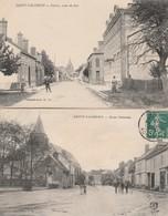 2 CPA:SAINT VALÉRIEN (89) ROUTE NATIONALE,ROUTE DE SENS ANIMÉES..ÉCRITES - Saint Valerien