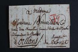 BELLE LETTRE DE PARIS POUR ORLEANS NON DATEE MARQUE P DANS UN TRIANGLE ROUGE OUVERT TAXE MANUSCRITE 3 DECIM - Postmark Collection (Covers)