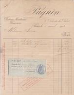 PAQUIN, ROBES & MANTEAUX FOURRURES. FACTURA AVEC TIMBRE FISCAL. AN 1913, RUE DE LA PAIX, PARIS -LILHU - Textilos & Vestidos