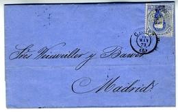 Espagne 1873 Lettre De CADIZ à MADRID  10c Amédée   LC72A - 1872-73 Königreich: Amédée I.