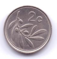 MALTA 1991: 2 Cents, KM 94 - Malta