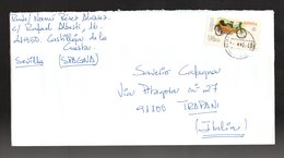 SPAGNA :  Etichetta Da ATM - Motorcycle (6) Mobylette AU-HT (1954)  1 Val.  Su Lettera   Del   8.02.2004 - 1931-Heute: 2. Rep. - ... Juan Carlos I