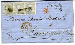 Espagne 1872 Lettre De ZARAGOZA à  LARROQUE D OLMES  3 X 12c Amédée Unif N° 122   LC72D - 1872-73 Königreich: Amédée I.