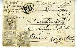 Espagne 1872 Lettre De MALAGA à  ANTIGNAC  3 X 12c Amédée Unif N° 122   LC72E - 1872-73 Königreich: Amédée I.