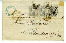 Espagne 1872 Lettre De MALAGA à  BORDEAUX 3 X 12c Amédée Unif N° 122   LC72G - 1872-73 Königreich: Amédée I.