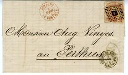 Espagne 1873 Lettre De SAN FELIU DE GUIXOLS à  LE PERTHUS  40C Amédée Unif N° 125   LC72 J - 1872-73 Royaume: Amédée I