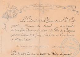 """Souvenir Du """"4 Juin 1859 MAGENTA"""" - 65° Régt D'Infanterie - Invitation à La Fête Du Drapeau - Caserne Cambronne - Documents Historiques"""