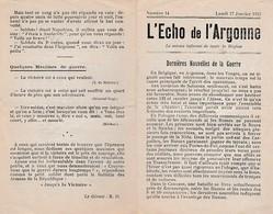 """WW1 1915 - """"L'ECHO DE L'ARGONNE"""" N° 14 - Bilan Des 4 Mois De Guerre Dans L'Argonne - Documents Historiques"""