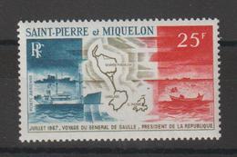 Saint Pierre Et Miquelon 1967 Voyage Du G De Gaulle PA 38 Neuf ** MNH - Poste Aérienne