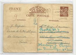 Marcophilie 1940 Entier Postal  La Courneuve Au Cannonnier Du Chantier N3 Montagne De Clergon  Rumilly 74 Haute Savoie - Marcophilie (Lettres)