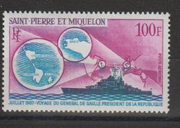 Saint Pierre Et Miquelon 1967 Voyage Du G De Gaulle PA 39 Neuf ** MNH - Poste Aérienne