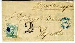 Espagne 1873 Lettre De  LAREDO  à  PAPANTLA  R MEXICANA  50C Amédée Unif N° 126   LC72 N - 1872-73 Reino: Amadeo I