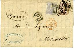 Espagne 1872 Lettre De MADRID  à  MARSEILLE Affr Combiné  12C Et 25 C Amédée Unif N°122 Et 124 LC72 P - 1872-73 Royaume: Amédée I