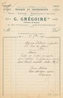 FA  2021   -  FACTURE -   MUSIQUE ET INSTRUMENTS  G. GREGOIRE  AIX EN PROVENCE - 1900 – 1949