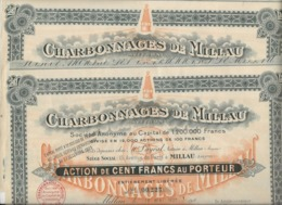 CHARBONNAGES DE MILLAU - 2 ACTIONS DE 100 FRANCS - ANNEE 1922 - Mines