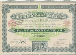 CHARBONNAGES DE MILLAU -  PART DE FONDATEUR - ANNEE 1925 - Mines