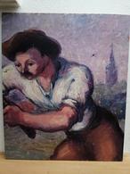 TABLEAU SUR CONTRE PLAQUE PEINT SUR LES 2 FACES MOISSONNEUR EN BEAUCE ET PORTRAIT DE FEMME - Gouaches