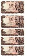 5 Billetes De 100 Pesetas Año 1970 - [ 3] 1936-1975 : Régimen De Franco