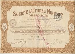 SOCIETE D'ETUDES MINIERES DE BOUGIE - OBLIGATION DE 500 FRS -EMISSION DE 2000 OBLIGATIONS -ANNEE 1924 - Mines