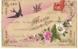 N°15056 - Carte Celluloïd - Prénom Marie - Hirondelle Et Fleurs - Prénoms