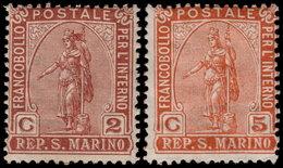✔️ San Marino 1899 - Issued For Inland Use Only - Complete Set - Mi. 32/33 ** MNH Original Gum  - €20 - Nuevos