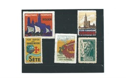 ROUEN SETE STRASBOURG Guillaume De Normandie  Erinnophilie X 5 Timbres Divers états  Bien/ TB (me Demander)  1 Scan - Commemorative Labels