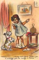 BOURET Germaine : éditions IDA 593 - Chien Et Fillette (systeme - Ajout De Papier - Collage) - état (manque Abat-jour) - Bouret, Germaine