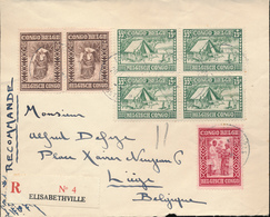 BELGIAN CONGO MISSIONARIES SET ON COVER PC REGISTERED COVER FROM E/VILLE TO LIEGE - 1923-44: Briefe U. Dokumente