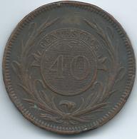 Uruguay - 40 Centésimos De Real - 1857 - KM10 - C. 35 Grs - Uruguay