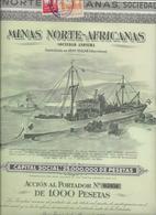 MINAS NORTE - AFRICANAS - BENI - ENZAR - LOT DE 3 ACTIONS DE 1000 PESETAS -ANNEE 1956 - Mines