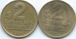 Uruguay - 2 New Pesos - 1994 - KM104.1 (Buenos Aires Mint) & 1998 - KM104.2 (Santiago Mint) - Uruguay