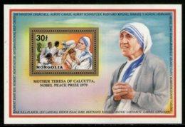 Mongolia 1992 Mother Teresa Of India Nobel Prize Winner Sc 2067 Gold M/s MNH # 5812 - Mother Teresa