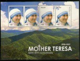 Palau 2010 Mother Teresa Of India Nobel Prize Winner Sc 1011 Sheetlet MNH # 7543 - Mother Teresa