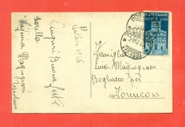 STORIA POSTALE-ISOLATI SU CARTOLINA POSTALE- BUON NATALE - 6. 1946-.. Repubblica