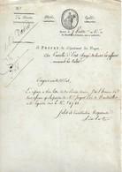 Lettre Du Préfet Des Vosges Au Conseiller D'Etat Chargé Des Cultes, 7 Ventose An 12 - Documentos Históricos
