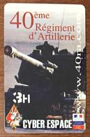 ARMÉE 40eme REGIMENT D'ARTILLERIE CANON SOLDAT MILITAIRE CARTE PASSMAN 3H WIFI WI FI INTERNET TÉLÉCARTE PHONECARD - Armée