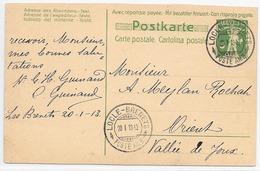 Poste Ferroviaire SUISSE BAHNPOST 1913 - AMBULANT Timbre à Date LOCLE BRENETS POSTE AMB. S EP > Orient Vallée Joux - Storia Postale