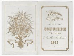 Calendrier, à Messieurs Les Membres De La Concorde à L'occasion De La Nouvelle Année 1911 - Calendarios