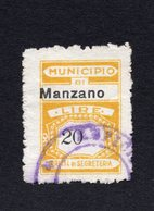 ITALY,MANZANO MUNICIPALITY REVENUE STAMP,USED,ADMINISTRATIVE FEES,DIRITTI DI SEGRETERIA - 1900-44 Vittorio Emanuele III