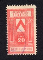 ITALY,UDINE MUNICIPALITY 20 LIRE REVENUE STAMP,USED,ADMINISTRATIVE FEES,DIRITTI DI SEGRETERIA - 1900-44 Vittorio Emanuele III