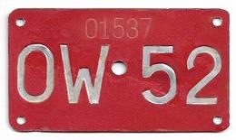 Velonummer Obwalden OW 52 - Placas De Matriculación