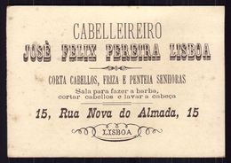 Cartão Publicidade Loja CABELEIREIRO Rua Nova Almada LISBOA. Chromo Coiffeur Old Victorian Trade Card VTC Portugal 1880s - Autres